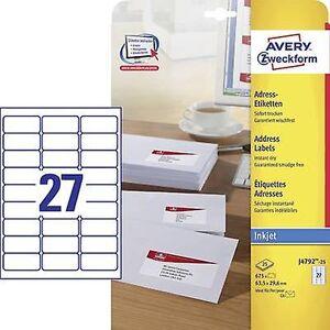 Avery Zweckform Avery-Zweckform J4792-25 etiketter 63,5 x 29,6 mm papir hvit 675 PC (er) permanente adresseetiketter, Universal etiketter Inkjet 25...