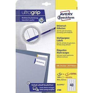 Avery Zweckform Avery-Zweckform 4780 etiketter 48,5 x 25,4 mm papir hvit 1200 PC (er) permanente Universal etiketter Inkjet, laser, kopimaskin 30 a...