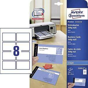 Avery Zweckform Avery-Zweckform C32015-25 utskriftsvennlig visittkort (glatt kant) 85 x 54 mm hvit 200 PC (er) papirstørrelse: a4