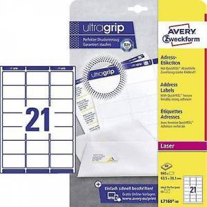 Avery Zweckform Avery-Zweckform L7160-40 etiketter 63,5 x 38,1 mm papir hvit 840 PC (er) permanent adresseetiketter, Universal etiketter Inkjet, la...