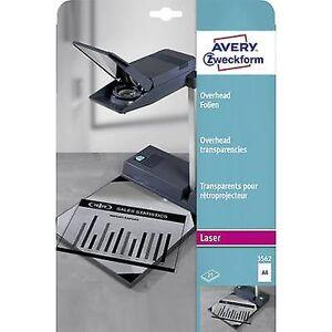 Avery Zweckform Avery-Zweckform 3562 OHP-film a4-laserskriver, kopimaskin gjennomsiktig 25 PC (er)