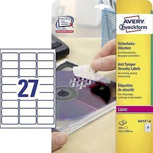 Avery Zweckform L6114-20 etiketter 63,5 x 29.6 mm Polyester filmen hvit 480 eller flere PCer Permanent sikkerhet klistremerker, Universal etiketter...