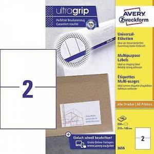 Avery Zweckform Avery-Zweckform 3655 Etiketter 210 x 148 mm Papir Hvit 200 stk Permanent All-purpose etiketter Inkjet, Laser, Kopimaskin 100 Ark A4