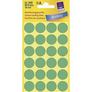 Avery Zweckform Avery-Zweckform 3006 Sticky prikker Ø 18 mm grønn 96 PC (er) permanent papir