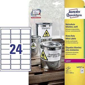 Avery Zweckform L4773-20 etiketter 63,5 x 33.9 mm Polyester filmen hvit 480 eller flere PCer Permanent Universal etiketter, værbestandig etiketter