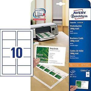 Avery Zweckform Avery-Zweckform C32011-10 utskriftsvennlig visittkort (glatt kant) 85 x 54 mm hvit 100 PC (er) papirstørrelse: a4