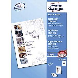 Avery Zweckform Avery-Zweckform overlegen Inkjet-papir 2579-100 Inkjet-skriver papir a4 150 GM ² 100 ark hvit