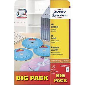 Avery Zweckform CD etiketter L7676A - 40P Ø 117 mm papir hvit 80 eller flere PCer Permanent ugjennomsiktig, fullt skrivbar Inkjet, Laser