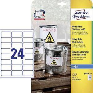 Avery Zweckform J4773-10 etiketter 63,5 x 33.9 mm Polyester filmen hvit 240 eller flere PCer Permanent Universal etiketter, værbestandig etiketter