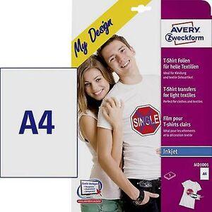 Avery Zweckform Avery-Zweckform min design T-skjorte MD1001 papir med blekkskriver a4 for lette tekstiler, optimalisert for blekkskrivere 5 ark