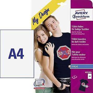Avery Zweckform Avery-Zweckform min design T-skjorte MD1004 papir av Inkjet a4 for fargestoffer, optimert for blekkskrivere 8 ark