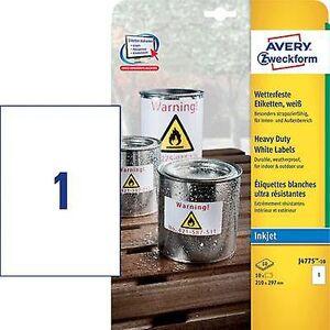 Avery Zweckform J4775-10 etiketter 210 x 297 mm Polyester filmen hvit 10 eller flere PCer Permanent Universal etiketter, værbestandig etiketter