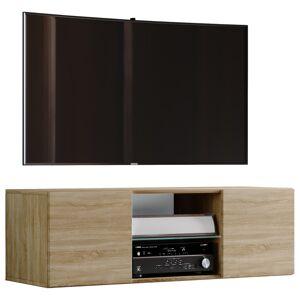 Jusa 115 TV-møbel vegghengt med 2 dører og 1 glasshylleSonoma eik dekor.