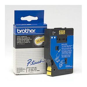 Brother TC601 Svart text / Gul tejp 12 mm x 7,7 m tape - Original