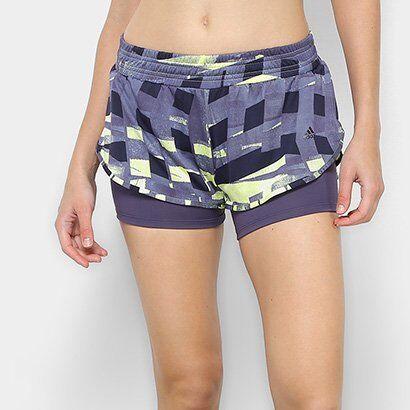 Short Adidas Dois em Um Graphic Feminino - Feminino