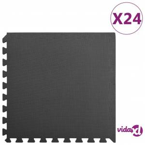vidaXL Lattiamatot 24 kpl 8,64 ㎡ EVA-vaahto musta