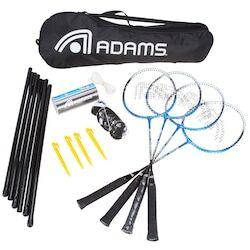 Adams Kit de Badminton Adams Titanium 80 - 4 Raquetes, 3 Petecas, 1 Rede e 1 Raqueteira - CINZA CLA/AZUL