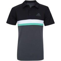adidas Camisa Polo com Proteção Solar UV adidas Club Colorblock TD - Masculina - CINZA ESCURO/PRETO