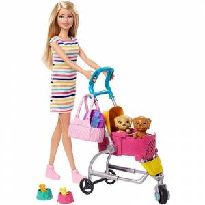 Barbie Dukke - Stroll 'n Play Pups - Med Hvalpe Og Klapvogn