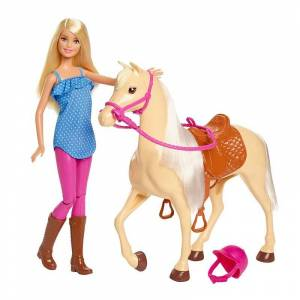 Barbie Dukke Med Hest Og Tilbehør