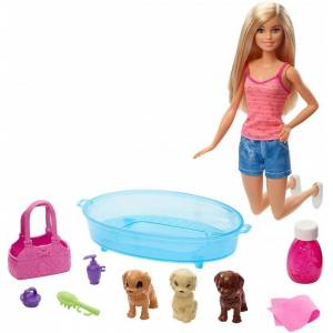 Barbie Dukke Med Hundehvalpe Og Badekar
