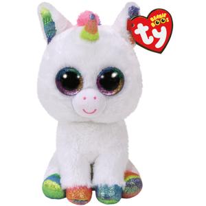 Bamse TY Pixy hvit unicorn: Beanie Boos 23 cm