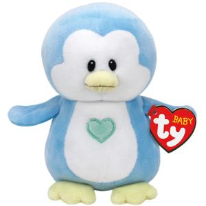 Bamse TY Twinkles blå pingvin med.: Beanie Boos 23 cm
