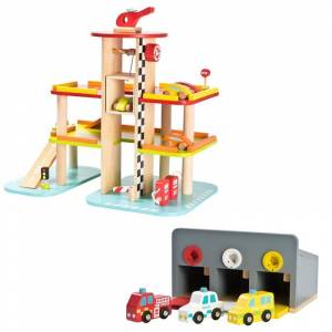 Wood Racing Game Garage Grey and Parking Garage