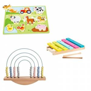 Wooden Chunky Farn Puzzle+ Balance Abacus+Little Rainbow Xylophone
