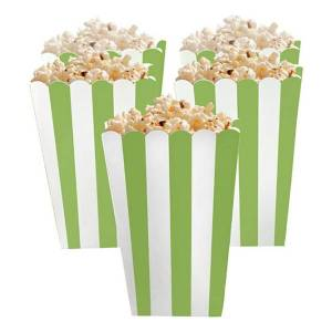 Amscan Popcornbägare Gröna Randiga - 5-pack