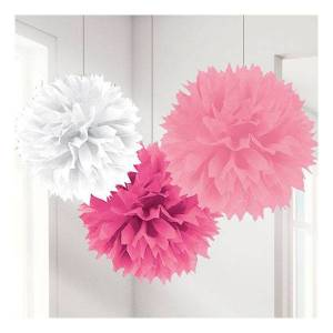 Amscan Pom Pom Rosa Mix Hängande Dekoration - 3-pack