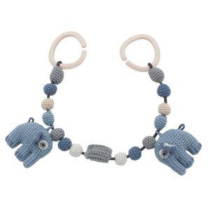 Sebra barnevognslenke med elefanter, powder blue