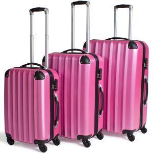 tectake Rejsekuffertsæt hardcase - pink