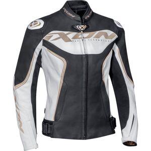 Ixon Trinity Naisten moottori pyörä nahka takkiMusta Valkoinen Kulta