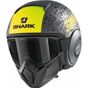 Shark Street-Drak Tribute RM Mat Jet kypäräHarmaa Keltainen