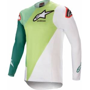 Alpinestars Supertech Blaze Motocross Jersey  - Valkoinen Vihreä - Size: M