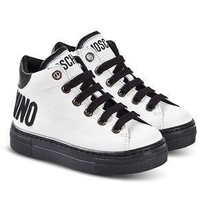 Moschino Kid-Teen Logo Hi-Top Sneakers Hvit og Svart 33 (UK 1)