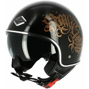 Astone Black Letters Jet hjelm Svart M