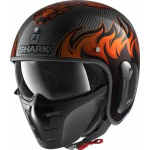 Shark S-Drak 2 Dagon Carbon Jet hjelm L Svart Oransje