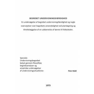 Begrebet Undervisningsfærdighed - Finn Held - Bog