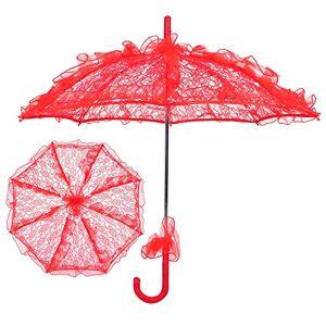BOLORAMOrvo82zshbd3419-15 Klara paraplyer för bröllop Stora, romantiska utsökta eleganta och klassiska bröllopsdekorationer för foton för bröllop(röd)