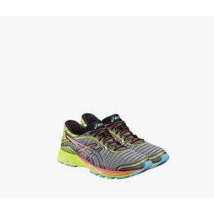 Asics Womens DynaFlyte Running Shoes Mid Grey/Flash Coral/Safety Yellow