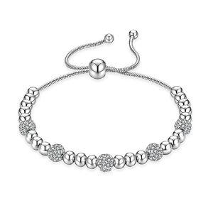 eStore Armband mit Metallperlen und Strass-Silber