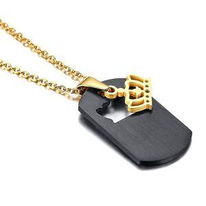 eStore Schwarze und goldene Halskette mit Königin Krone