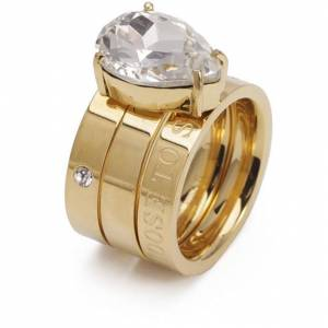 Bud To Rose-Blaze Ring L, Clear/Gold