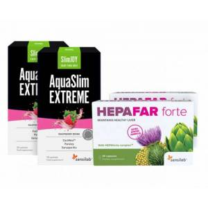 Sensilab Hepafar + WaterOut - Paket für flachen Bauch und gesunde Leber. 1-monatiges Programm