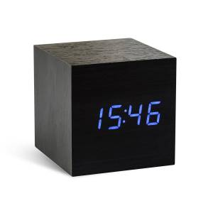 Gingko - Click Clock Cube, schwarz / LED blau