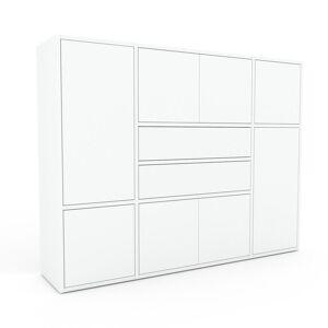 MYCS Bücherregal Weiß - Modernes Regal für Bücher: Schubladen in Weiß & Türen in Weiß - 154 x 118 x 35 cm, konfigurierbar