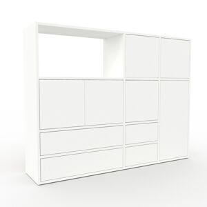 MYCS Holzregal Weiß - Modernes Regal aus Holz: Schubladen in Weiß & Türen in Weiß - 154 x 118 x 35 cm, Personalisierbar