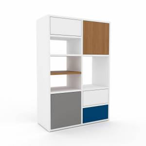 MYCS Holzregal Weiß - Modernes Regal aus Holz: Schubladen in Weiß & Türen in Grau - 79 x 118 x 35 cm, Personalisierbar